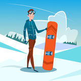 Man Standing Hold Snowboard Winter Activity Sport Vacation Snow Mountain Slope Stock Photography