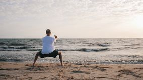 Man standing in horse stance Ma Bu while morning training WuShu on sea shore. Man standing in horse stance while morning training on sea shore. Man training stock footage