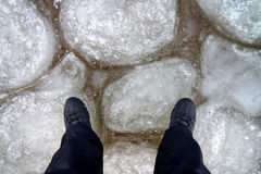 Man standing on the ice. Stock Images