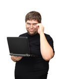 Man standing with laptop Royalty Free Stock Photos