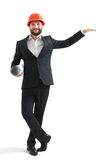 Man standing like holding a banner Royalty Free Stock Photo