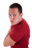 Man standing, looking with contempt Stock Photos