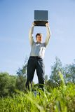 Man standing on meadow Royalty Free Stock Photos