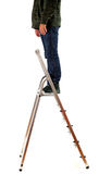 Man standing on metal ladder Stock Image