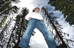 Man standing in middle of forest. Looking tall, photographed from below Royalty Free Stock Photo