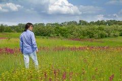 Young man enjoying the nature Stock Image