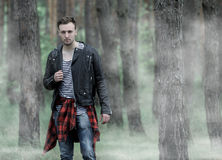 Man standing in the misty forest. Stock Photos