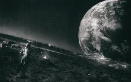Man Standing On The Moon Monochrome Royalty Free Stock Image