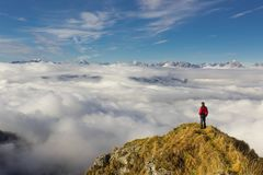 Man Standing on Mountain Against Sky royalty free stock photography