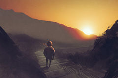 Man standing on mountain pathway stairs looking at the sunset. Illustration painting Royalty Free Stock Photos