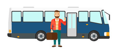Man standing near bus Royalty Free Stock Photos