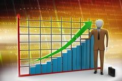 Man standing near a financial graph. Business man standing near a financial graph Royalty Free Stock Photos