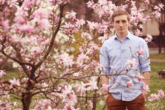 Man standing near magnolia tree Stock Photography