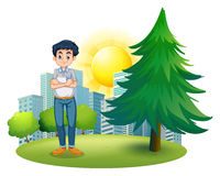A man standing near the pine tree Stock Image