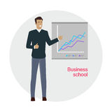 Man Standing Near Presentation Screen with Chart Royalty Free Stock Photography