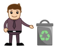 Man Standing Near Trash Bin Stock Photo