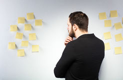 Free Man Standing Next To A Wall With Postits Royalty Free Stock Image - 40073056