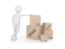 Man standing next to the pile of cardboard boxes. 3d render Stock Images