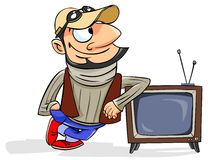 Man standing next to a retro TV Stock Photography