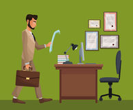 Man standing office space desk chair diploma Stock Photo
