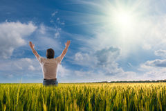 A man with open arms Stock Photography