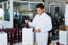 Man standing in packing section on winemaking factory. Glad man in coat standing in packing section on winemaking factory Stock Image