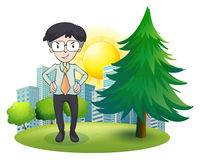 A man standing beside the pine tree Stock Photography