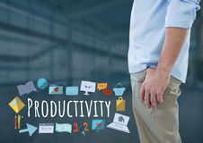 Man standing with Productivity text with drawings graphics. Digital composite of Man standing with Productivity text with drawings graphics Stock Photos