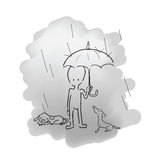 Man standing in rain with umbrella and dogs Stock Photos