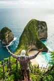 Man standing with raised hands on Kelingking beach cliff on Nusa Penida island Stock Photos