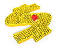 Man standing red question mark yellow 3d money maze center Royalty Free Stock Photo