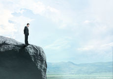 Man standing on  rock Stock Photo