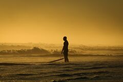 Man Standing on Seashore While Holding His Surfing Board during Sunset royalty free stock photography