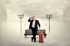 Man standing on the square Royalty Free Stock Photography