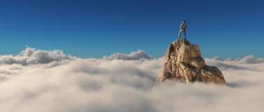 A man standing on a stone cliff. Over the clouds .Success concept. This is a 3d render illustration Stock Photography