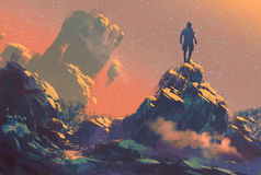 Man standing on top of the hill. Watching the stars,illustration painting Royalty Free Stock Photography
