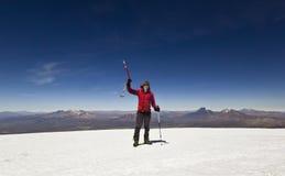 Man standing on top of Sajama Volcano in Bolivia Stock Photo