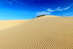 A man standing on the top of sand dune with wind pattern and clear blue sky Stock Photo