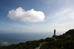 Man standing on top of Table Mountain Stock Image