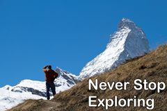 A man looking at the peak of the Matterhorn in the distance. Stock Image
