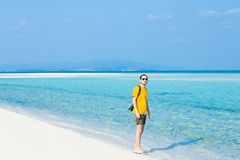 Man standing on tropical paradise beach, Okinawa, Japan Royalty Free Stock Photography