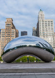 Man Standing Under Cloud Gate in Chicago Royalty Free Stock Photos