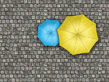 Man standing under an umbrella waiting for the change of weather Royalty Free Stock Photography