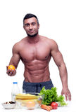 Man standing with vegeterian food Stock Photography
