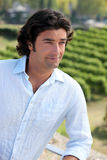 Man standing in a vineyard Stock Image