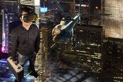 Man standing in virtual reality scene Royalty Free Stock Photography