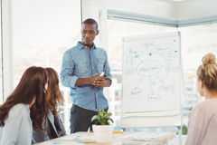 Man standing by white board while discussing with coworkers Stock Image