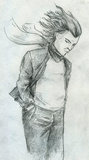 Man standing in the wind. Sad man standing in the wind with his hair disarranged, his hands in pockets and his scarf flying. Pencil drawing, sketch Stock Photography