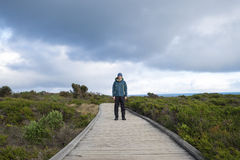 Man standing on wooden foot path. Leading to The Grotto at Great Ocean Road, Melbourne Victoria Australia stock images