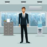 Man standing workplace office cabinet document cooler water. Vector illustration eps 10 Stock Photography